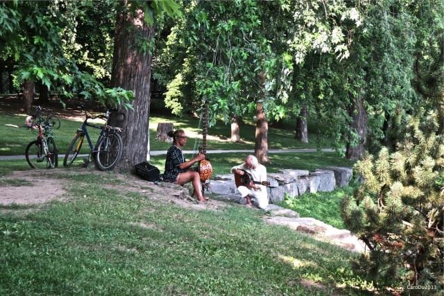 Juste avant la tombée du jour, hier, au coeur du parc Lafontaine