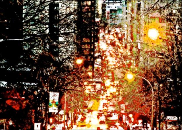 CHALEUR URBAINE - La rue Peel vue du mont Royal - Février 2015