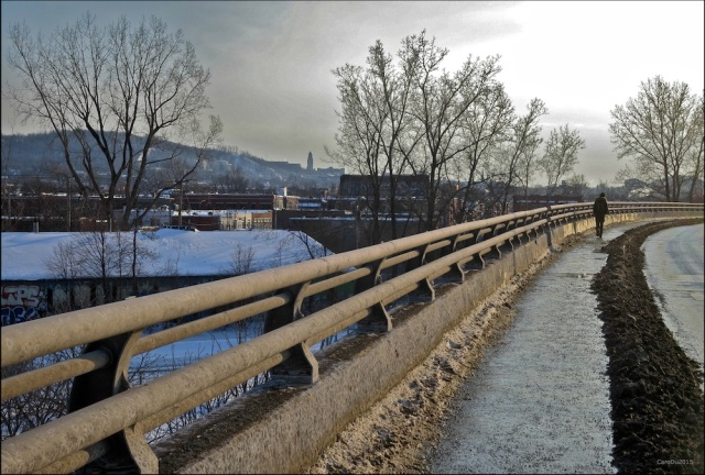 ALLEZ DANSE, MON COEUR, DANSE (malgré le brun) Viaduc Rosemont, le mont Royal en arrière-plan, Montréal, février 2015