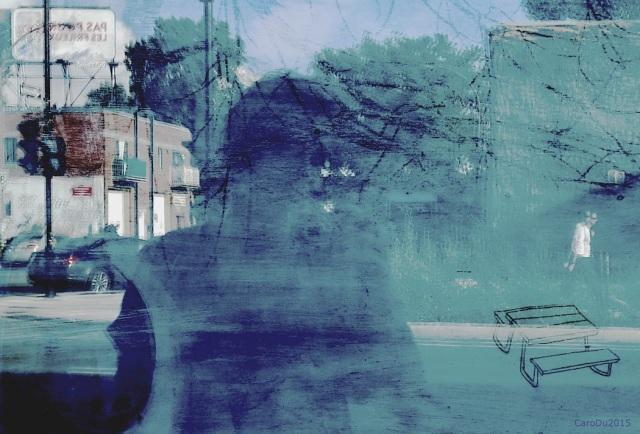 AUTOPORTRAIT DE CANICULE - Devant la galerie du  Viaduc À travers la vitre, on distingue des fragments d'une oeuvre de Pierre Lamarche